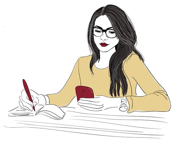 Illustration of girl writing