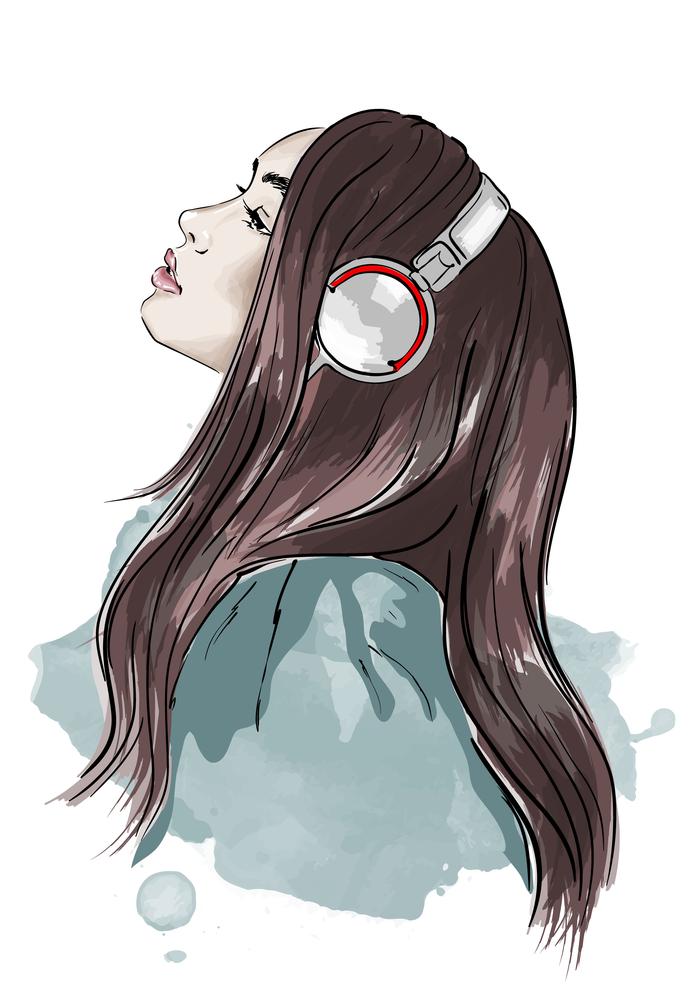 illustration of girl listening to music