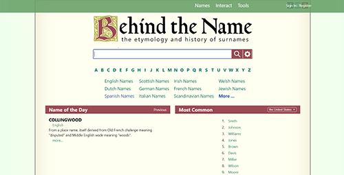 behind the name website screenshot